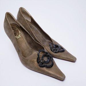 Rene Caovilla Ultra Suede Heels Size 37/6.5